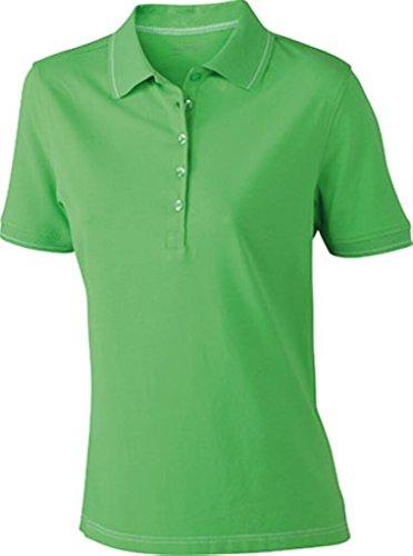 JAMES & NICHOLSON Hochwertiges Poloshirt mit Kontraststreifen Lime-Green/White