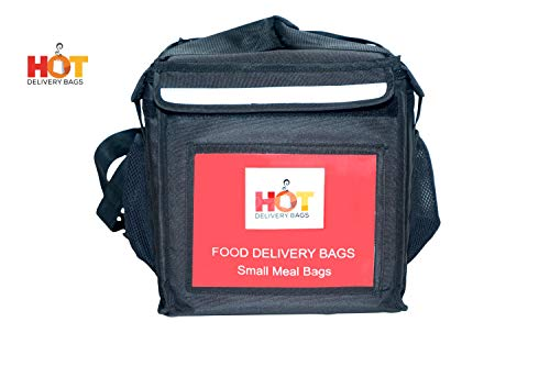 HOT DELIVERY BAG Classic Insulated Food Delivery Bag 12 * 12 * 12 Inches Ideal for Small Meals and Container Delivery Pizza Boxes 10 Inch and Salad Trays Delivery