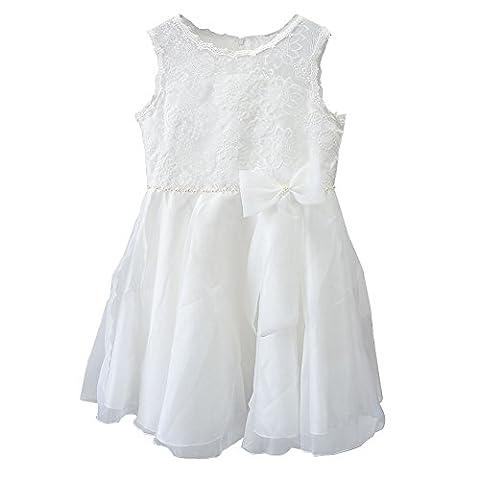 BINIDUCKLING Girls White Lace Dress Sleeveless Princess Party Dress Flower Lace Skirt