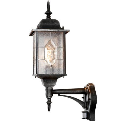 Konstsmide 7268 759 milano leaded effect up wall light pir sensor motion detector antique finish lacquered aluminium matt black silver