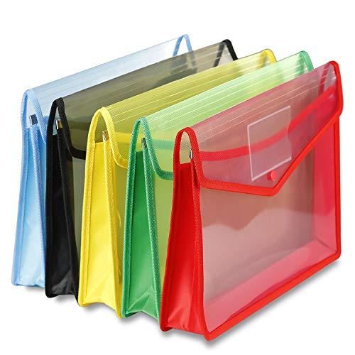 Pinacis 5 Stück Dokumententasche A4 Durchsichtigen Datei Ordner Kunststoff Dokument Ordner mit Druckknopf für Schule Büro Home, 5 Farben