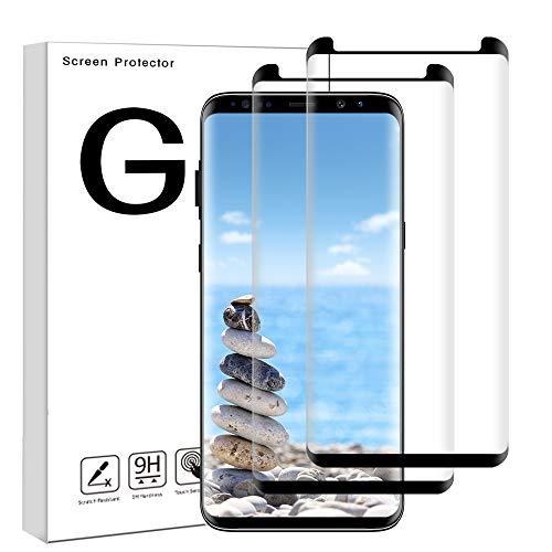 Nomisty Galaxy S8 Panzerglas Schutzfolie, 2 Stück Panzerglasfolie für Samsung Galaxy S8 3D Full Coverage Panzerglas Ultra-Klar 9H Härte,Anti-Bläschen,Anti-Öl,Anti-Kratzen,3D Touch Kompatibel (Schwarz)
