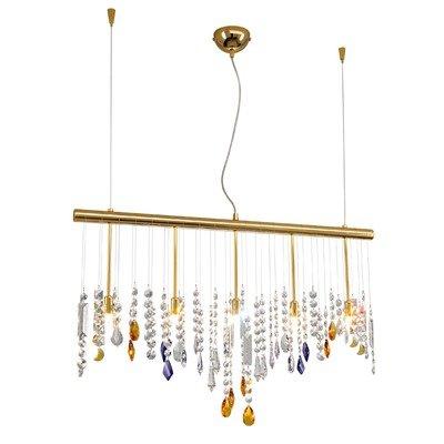 Regolabile in altezza lampadario 5-luci Stretta a goccia: trasparente (Swarovski Spectra)/viola/Amber