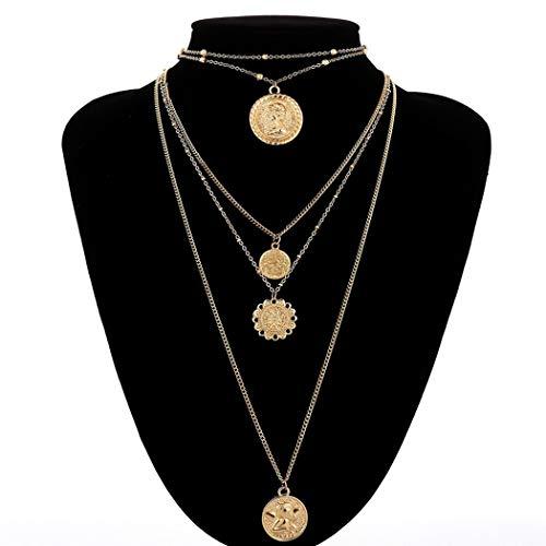 ZKZDSL Damen Halskette,Multi-Layer Gravur Coin Halskette Böhmischen Retro Legierung Perlen Anhänger Lange Halskette Damen Schmuck Party Freundin Geschenk Goldene Münze