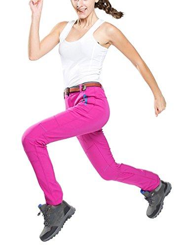 Minetom Femme Hiver Doublé Pantalon Softshell Breathable Soft Shell Climbing Trousers Imperméable Coupe-vent Randonnée Trekking Sports Pants Rose Vif
