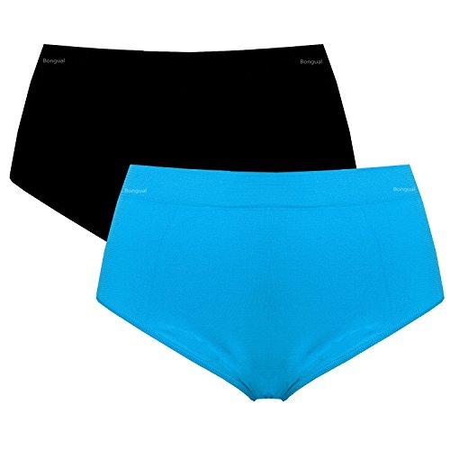 2 St. Bongual Damen Plus Size Slips Taillenslips Unterhose Miederhose Microfaser 44-50 Türkis/Schwarz