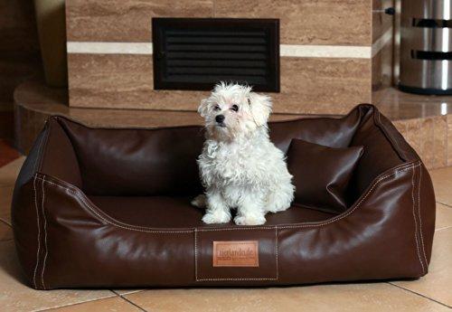Maddox Lit orthopédique pour chien de TIERLANDO en imitation Lether Panier pour chien Panier pour chien Marron Taille M 80cm