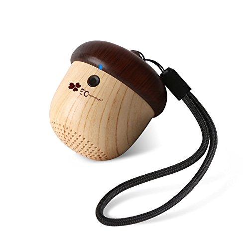 EC Tec Portable Mini Wireless Bluetooth Lautsprecher süß Holz Nuss Form, wiederaufladbarer Speaker (Ipad Travel Lautsprecher)