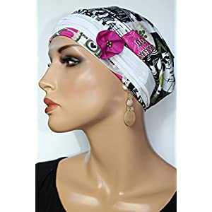 Beanie Mütze Print mit Band Bunt Peppig little things in life Chemo Cap Hat Chemomütze Mütze bei Krebs Kopfbedeckung Turban
