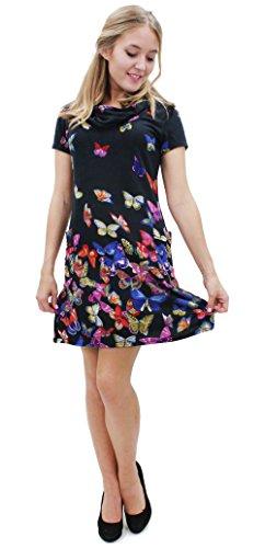 Purplish Strickkleid COLOURFUL BUTTERFLIES DRESS 7051 Schwarz L