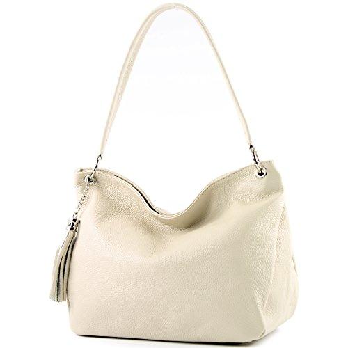 modamoda de - ital. Ledertasche Damentasche Schultertasche Umhängetasche Echtleder T154, Präzise Farbe:Creme