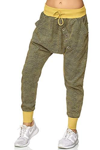 Elara Damen Jogging Hosen   Baggy mit Knopfleiste   Lässige Sporthose   Sweatpants   Chunkyrayan 120 Senf Gelb-One Size (Gelbe Sweatpants Frauen)