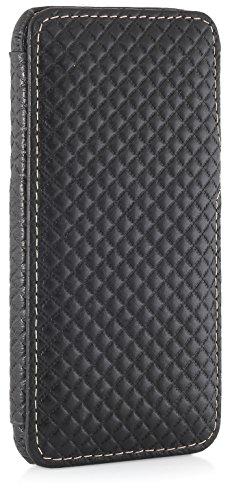"""StilGut Book Type Case mit Clip, Hülle Leder-Tasche für iPhone 6s. Seitlich klappbares Flip-Case aus Echtleder für das Original iPhone 6s (4,7""""), Schwarz Nappa Chester - mit Clip"""