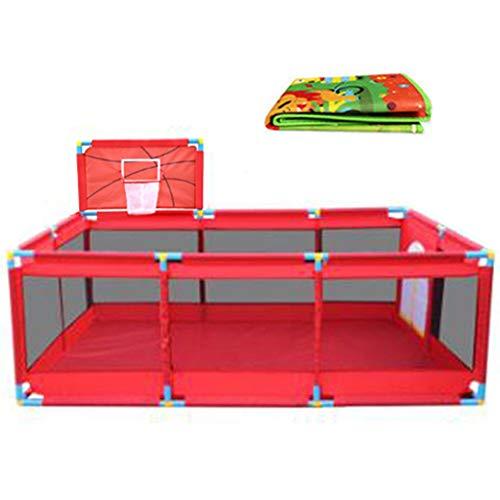 Extra Lange Matratze Pads (Extra großer Baby-Laufstall für Zwillinge, Kinderreisefach mit Bodenmatte, rotes Oxford-Tuch, 128 × 190 × 66 cm)