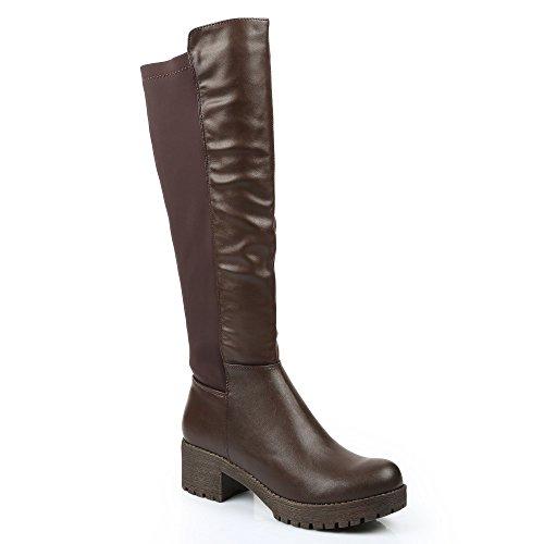 Ideal Shoes–Stivali bi-materiale Dariana Marrone