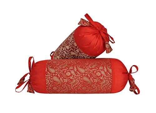 Lalhaveli Kissenbezug aus Seide Kissen für Schlafzimmer/Sofa Dekorationen 45 x 20 cm 2er Set
