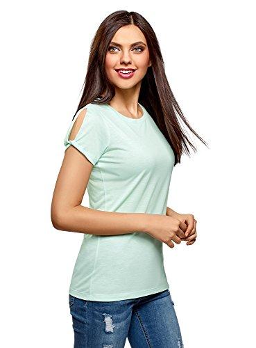 79eee8492d4 oodji Ultra Women's Straight-Fit T-Shirt with Split Sleeves, Green, UK