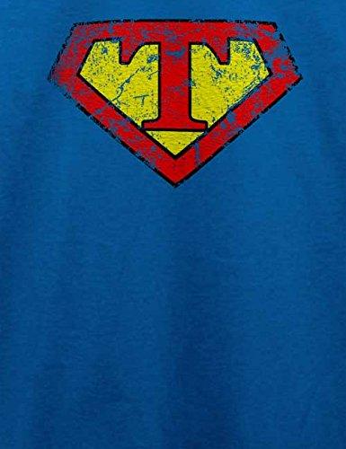 T Buchstabe Logo Vintage T-Shirt Royal Blau