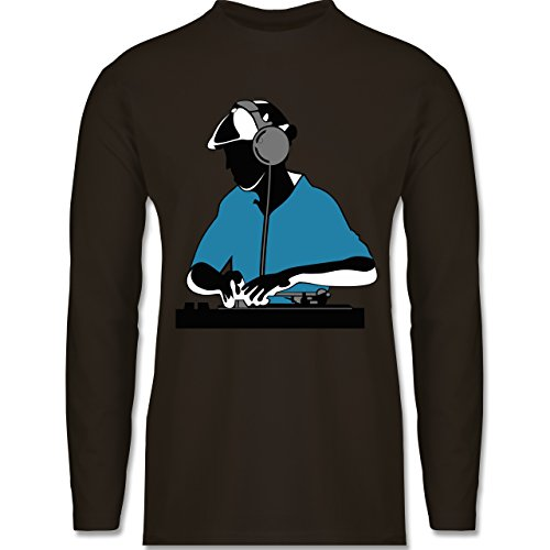 DJ - Discjockey - Discjockey - Longsleeve / langärmeliges T-Shirt für Herren Braun