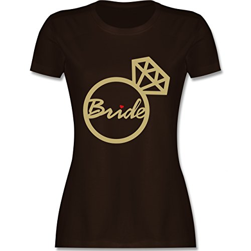JGA Junggesellinnenabschied - Bride - Diamantring - Damen T-Shirt Rundhals Braun