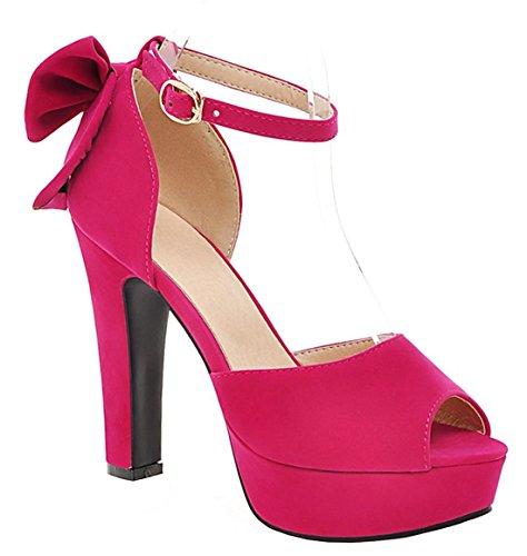 YE Damen Peep Toe Blockabsatz High Heels Plateau Wildleder Knöchelriemchen Pumps Sommer Sandalen Schuhe mit Schleife Rose Red