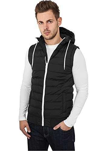 Small Bubble Hooded Vest Urban Classics Streetwear Vestito Uomo blk/wht