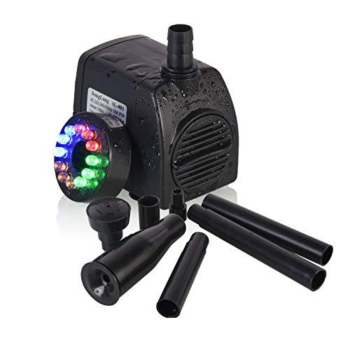 USCVIS Wasserpumpe Tauchpumpe 220GPH (800 L/H 15W) mit LED Licht Beleuchtung, Unterwasser Wasserspielpumpe für Garten Aquarien Teich Brunnen