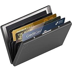 Cartera Pequeña de Metal Anti RFID de Card Genie - Tarjetero Impermeable Portatarjetas Metálico de 6 Ranuras para Hombre y Mujer - Tecnología de Bloqueo RFID Que Protege Tus Tarjetas de Crédito y DNI