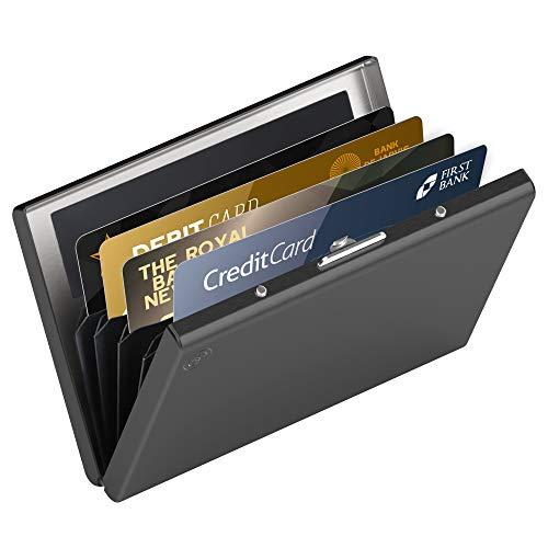 hochwertiges Edelstahl Kartenetui | Ideal als Kreditkarten & Visitenkarten Etuis, RFID Blocker, Kreditkartenetui, Slim Wallet, Visitenkartenetui, Mini Geldbörse | Card Genie Herren & Damen Etui Klein - Kreditkarte Beutel