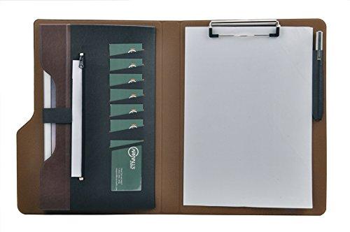 iCarryAlls Klemmbrettmappe DIN A4, Schreibmappe mit Klemmbrett und Folientasche (Schwarz + Kaffee)