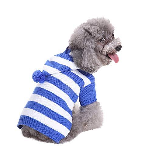 Amphia - KostüM für Hunde,Haustier Hund mit Kapuze gestreiften Pullover - Haustier-Hundekatze-Winter-Warmer Gestreifter mit Kapuze - Blau Kapuzen Mantel Kostüm
