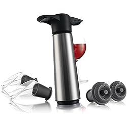 Vacu Vin 0649360 - Bomba de vacío de acero inoxidable (estuche con 2 tapones y 2 servidores)