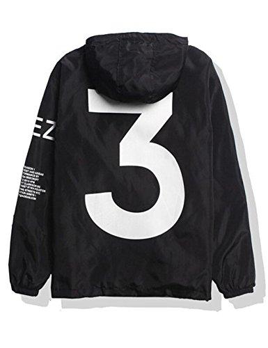 Windjacke Herren/Damen Windbreaker Kapuzenjacke Streetwear Unisex Outerwear Wasserdicht Jacke Springswear , M , Schwarz
