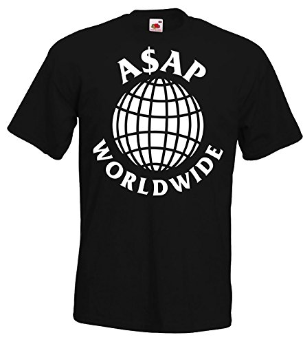 TRVPPY Herren T-Shirt Modell ASAP Worldwide, Schwarz, L (Asap Rocky Bekleidung)