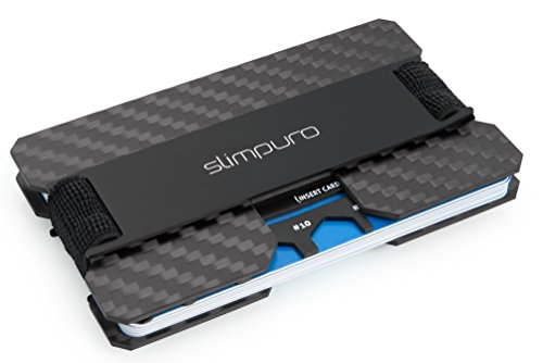 SLIMPURO® Kreditkartenetui mit Münzfach ATTO-Carbon Slim-Wallet mit Aluminium CoinCard - RFID Schutz - Kartenetui mit Geldklammer - Mini Geldbörse Geldbeutel - Designed in Germany (Schwarz Metal) -