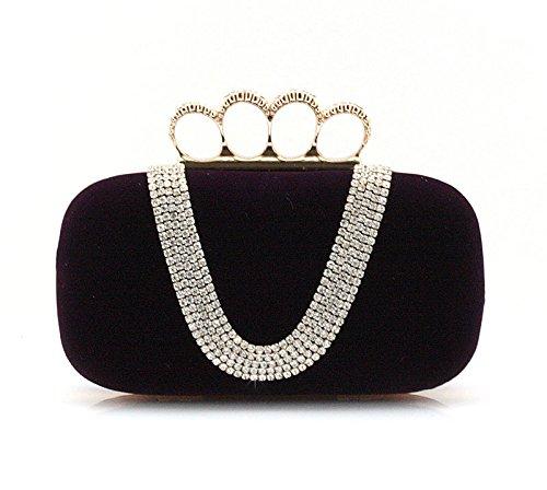 ZYT Borse estate sera mini borsa acqua diamante anello Kanetaka partito borse borse a mano borsa sposa borsa da sera . black