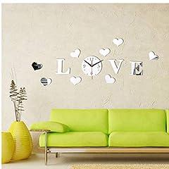 Idea Regalo - 1pc Fai da Te Orologio di Parete Creativo di personalità Adesivi Acrilico Amore Cuore 3D Stereo Specchio Decorativo delle Decalcomanie Living Room Decor