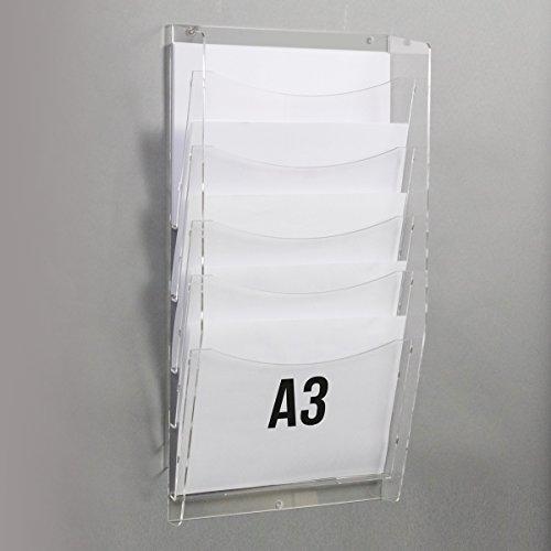 Rbt espositori porta depliant da parete con nr. 5 tasche f. to a3 orizzontali