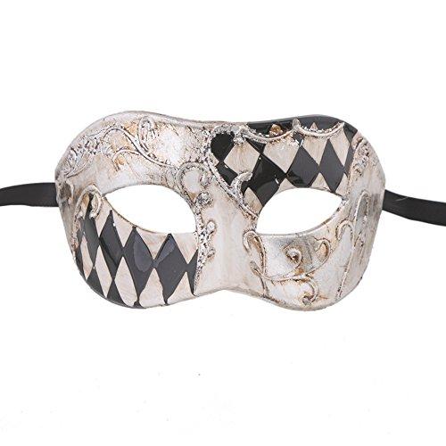 xvevina Herren Holzoptik Checkered Halloween Masquerade ()