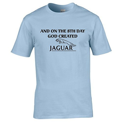 Naughtees Bekleidung - And on the 8th day God created Jaguar T-shirt Himmelblau