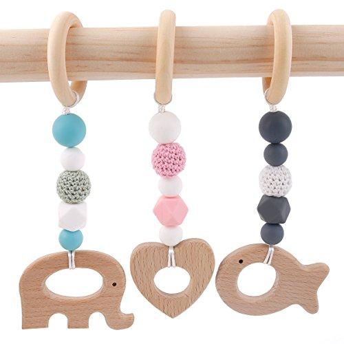 baby tete Mordedor de Silicona Juguetes Montessori Cuentas Octogonales de Ganchillo Sonajeros Colgantes de Animales Wood Ring Baby Nursing Accesorios 3pcs Respetuoso del Medio Ambiente