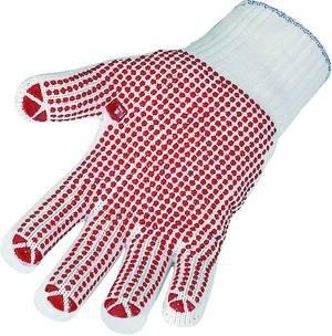 Maglia fine-Guanti, placcati (interno cotone-esterno poliammide), bianco con punto noppung rosso, 1paio (versch. Misure a Scelta)
