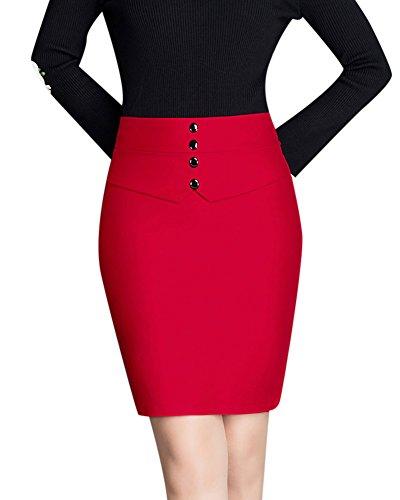 Damen Midi Rock Stretch Figurbetont Business Bleistift Röcke kurzes Kleid Rot XL