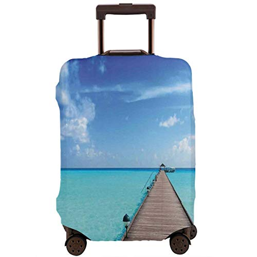 Travel Luggage Cover,Wooden Jetty Over Clear Maldivian Sea Tropical Beach Vacation Travel Suitcase Protector