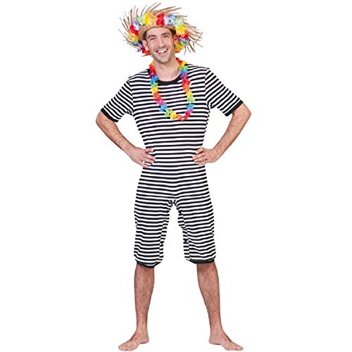 Krause & Sohn Unisex Kostüm Retro Badeanzug schwarz-weiß historisch Beachparty Fasching - Lustig Historischen Kostüm