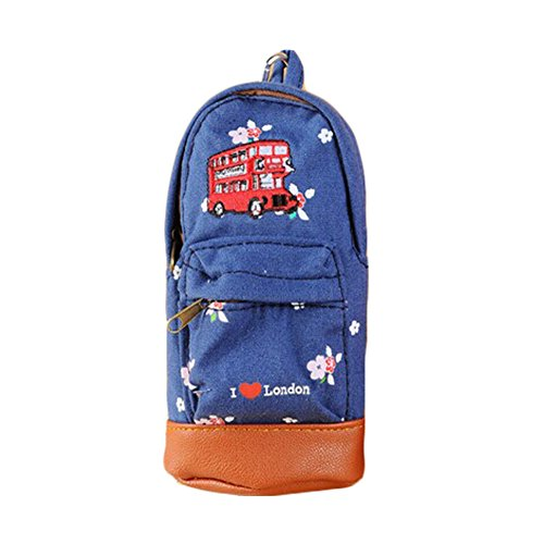 Creative Canvas School Bag sac cosmétique Pen sac ?main sac (17 * 9 CM, bleu, Bus)