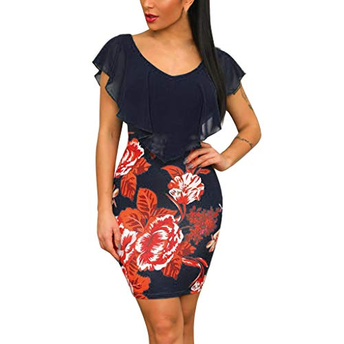 OIKAY Figurbetontes Kleid Sexy Damenkleid Ärmellos Floral Bedruckte Urlaubsparty Kurzes Minikleid