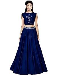 Purva Art Womens Navy Blue Sunrise Lehengha Choli For Womens (PA_2401_Zoya Silk_Navy Blue)