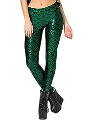 Highdas Mujeres atractivas legging las polainas verdes de la sirena de los pantalones de las polainas impresas Escala tama?o 4XL