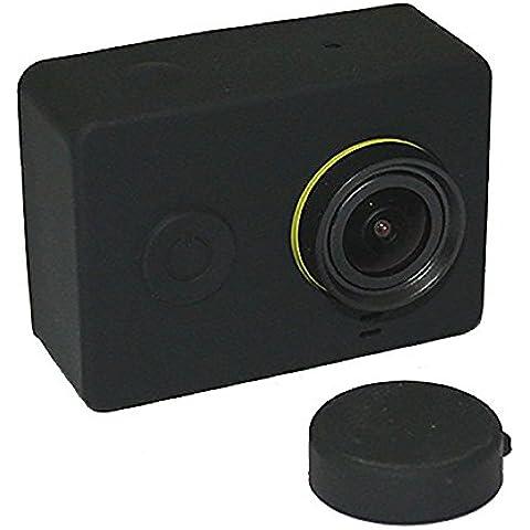 HuntGold Piel suave de la cubierta del estuche protector de silicona y tapa de lente para la cámara Xiaomi Yi